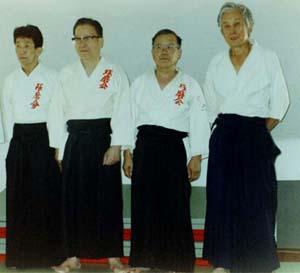 Seminaarin opettajat Takeshi Kawabe (vas.), Hakaru Mori, Kiyohiro Kobayashi ja Yutaka Amatsu.